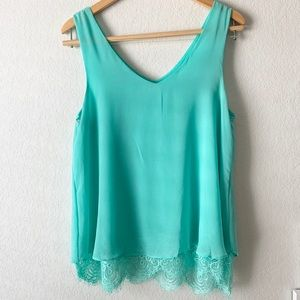 Anthropologie Mine Brand | Turquoise Lace Tank top